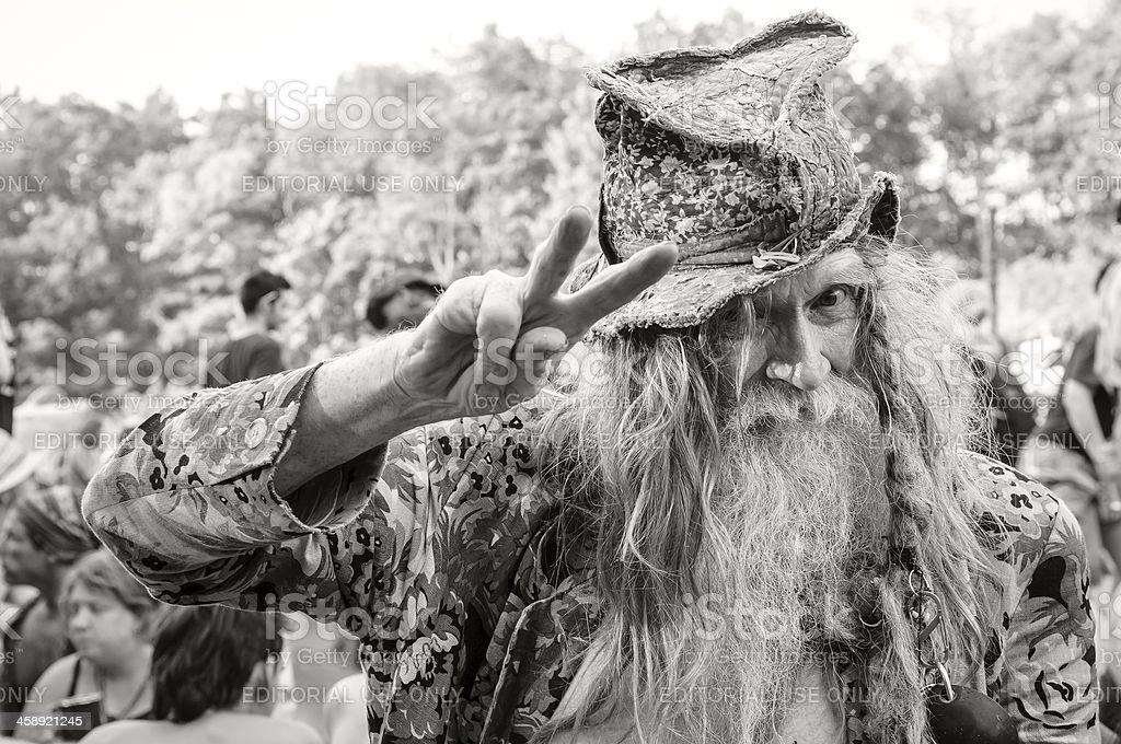 Old hippie man at 2012 Rainbow Gathering stock photo