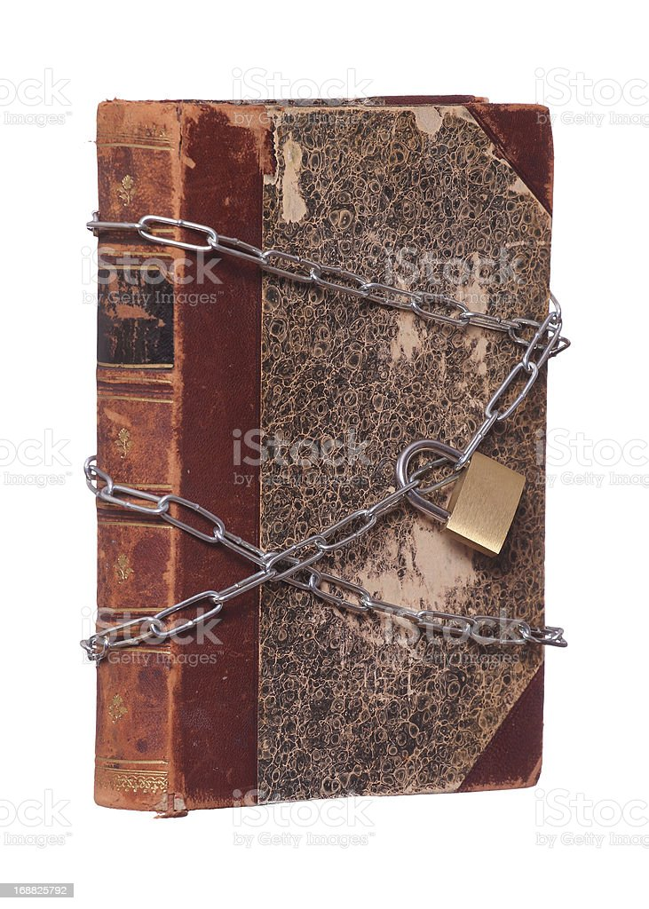 old historic book protected with padlock and chain royalty-free stock photo