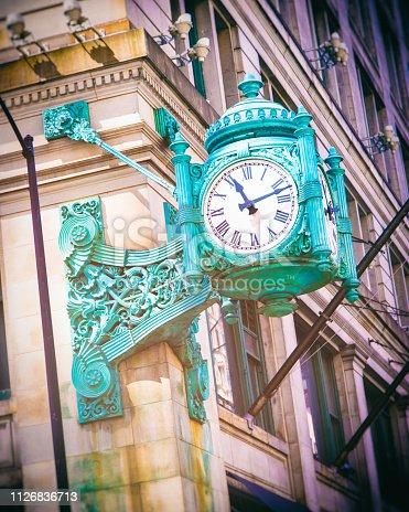 Green clock in Chicago