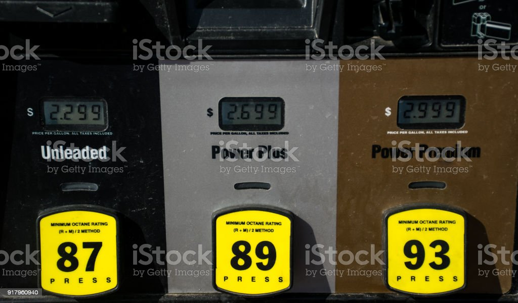Old historic gasoline station at the gas pump stock photo