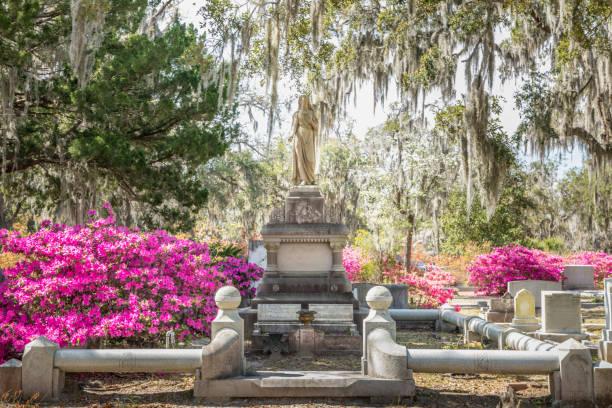 Old historic gravesites on Bonaventure Cemetery Savannah, Georgia stock photo