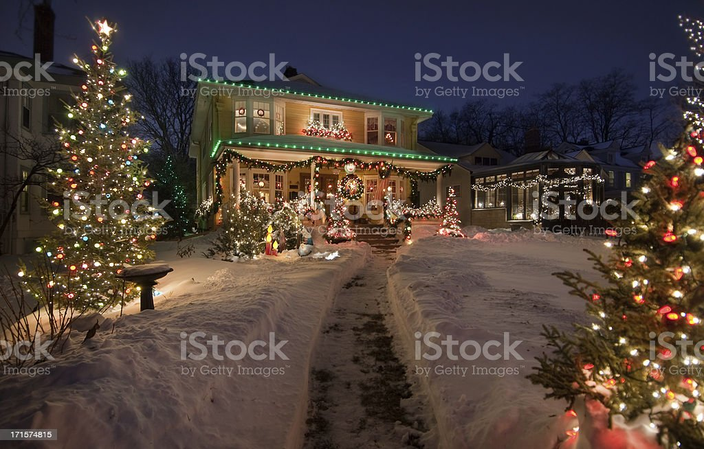 Old Historic Home with christmas lights stock photo