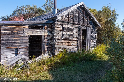 September 16 2018 Atlin Canada. Old historic house  of the Gold Rush in Atlin British Columbia Canada.