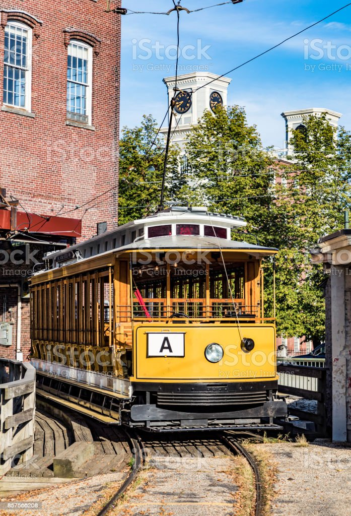 old historic streetcar in Lowell stock photo