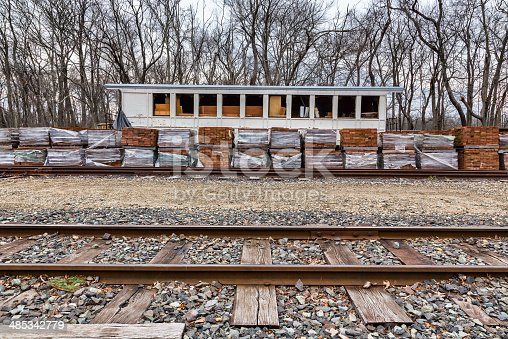 An old historic train station at Allaire Village in New Jersey, USA. Allaire village was an old colonial bog iron community.