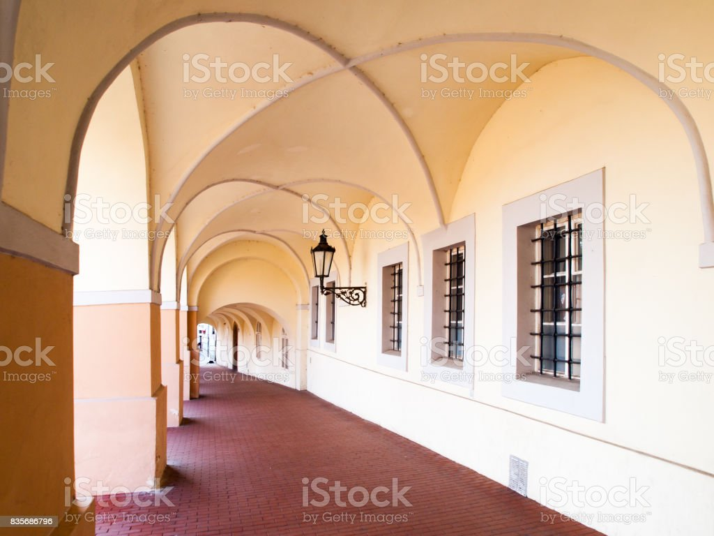 Old historical arcade in Loretanska Street near Prague Castle, Prague, Czech Republic stock photo