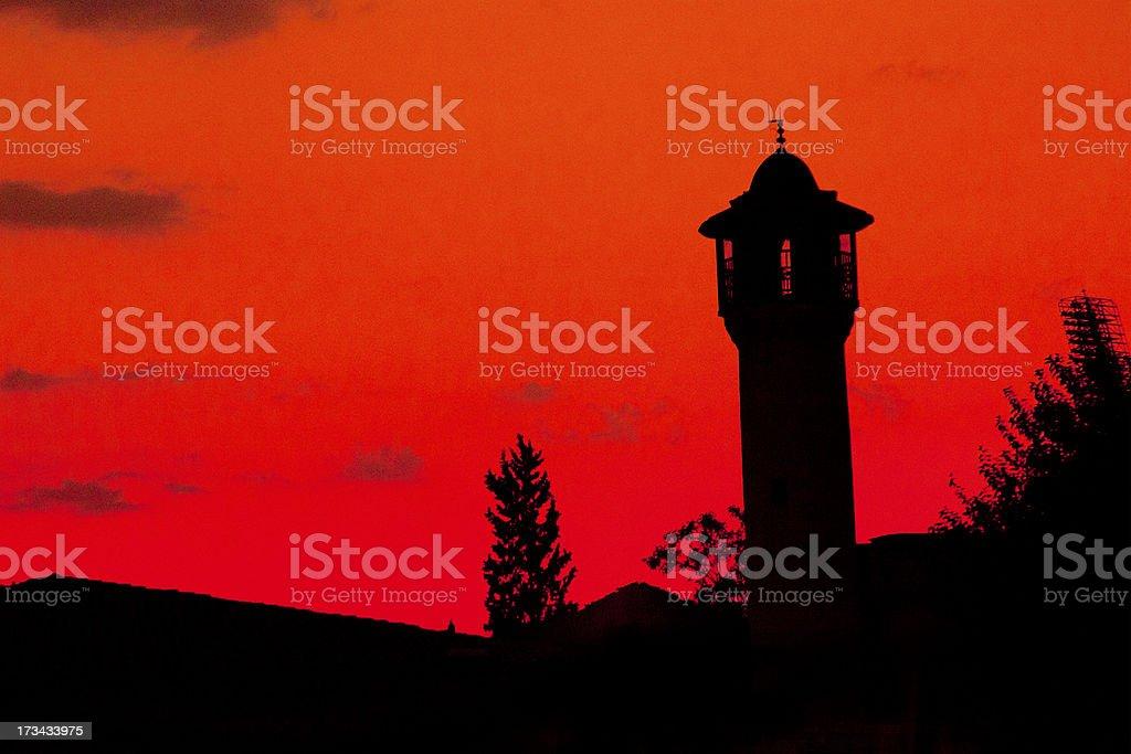 old historical boyaci mosque and minaret at antep turkey royalty-free stock photo