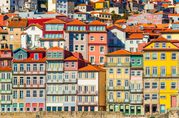Old historical houses of Porto. Rows of colorful buildings in the traditional architectural style, Portugal stock photo