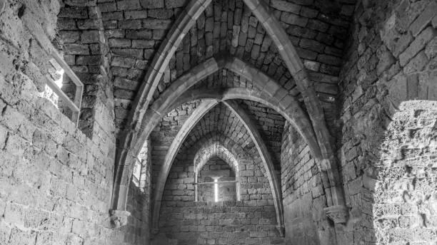 老歷史內部石頭拱門-以色列圖像檔