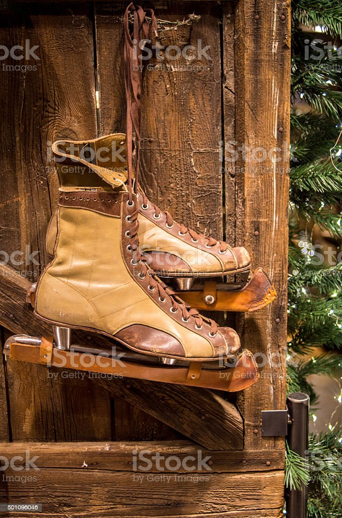 Old hockey shoes stock photo