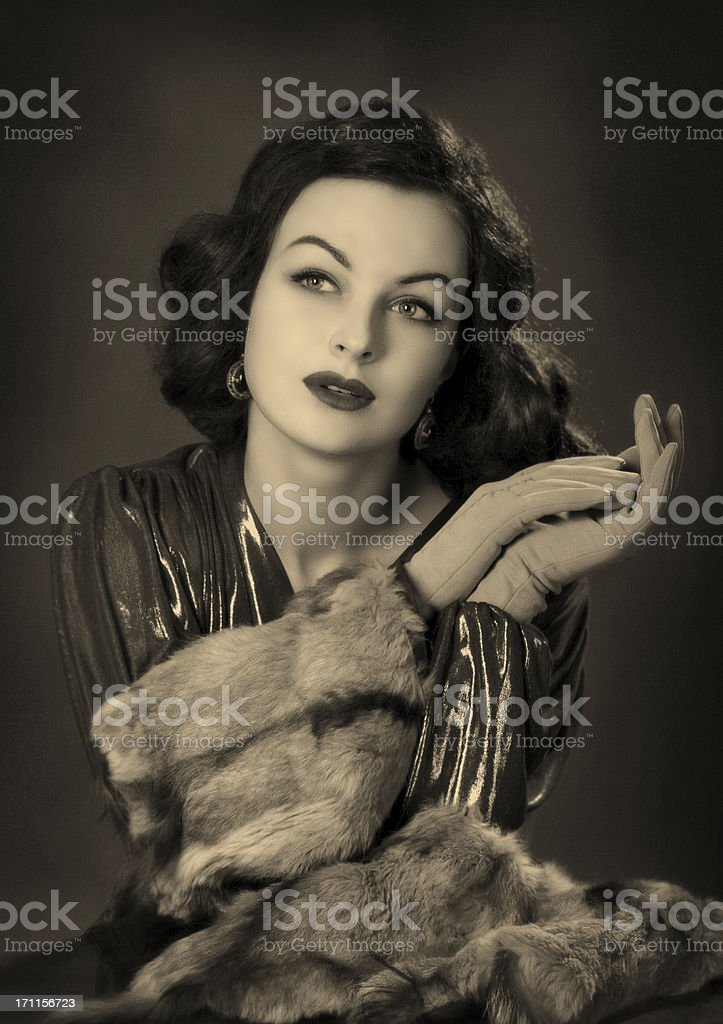 Old Hollywood.Beauty in film noir style. royalty-free stock photo