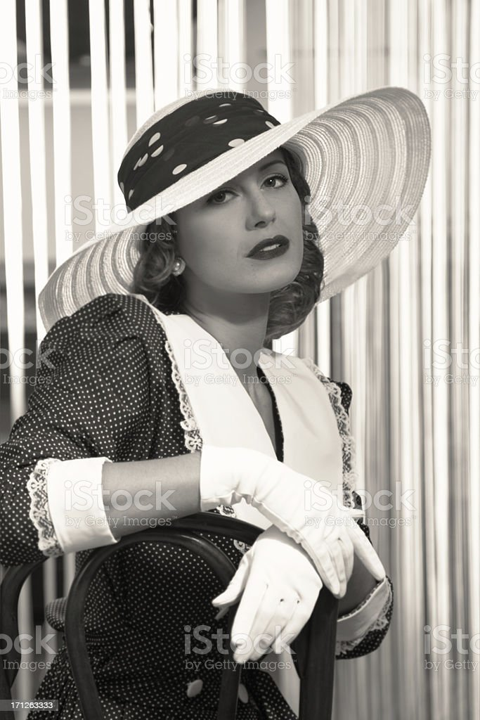 Old Hollywood.Woman in Hat stock photo