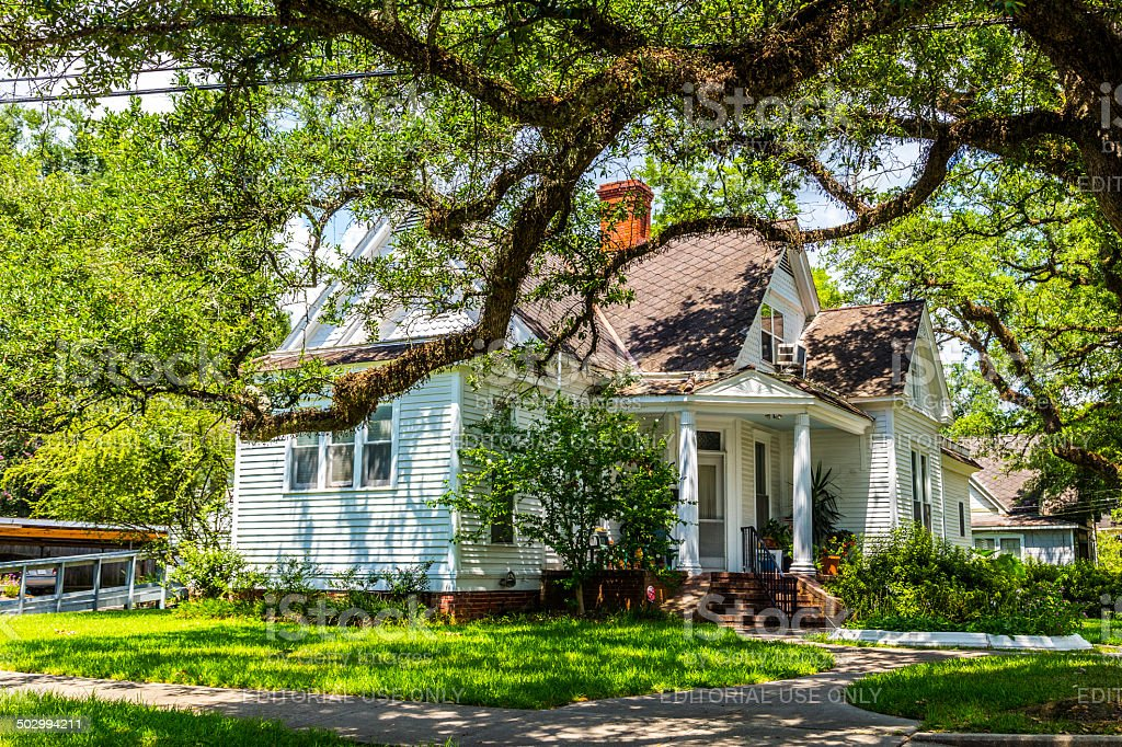 old homes at the Charpentier district in Lake Charles stock photo