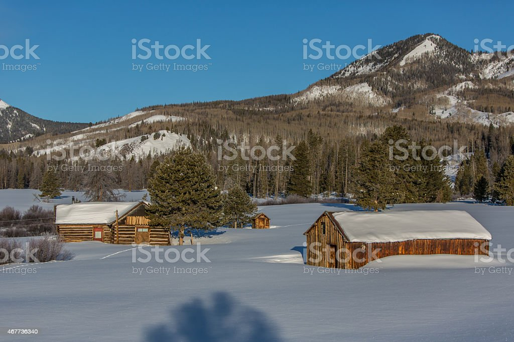 Old Homestead, Heavy Snow, and Mountains An old homestead with a log cabin and two weathered wooden out buildings covered in deep late Winter snow. Pine trees and Aspen trees line the slopes below the mountain peak in this image from the Elk Creek basin outside of Steamboat Springs, Colorado. 2015 Stock Photo