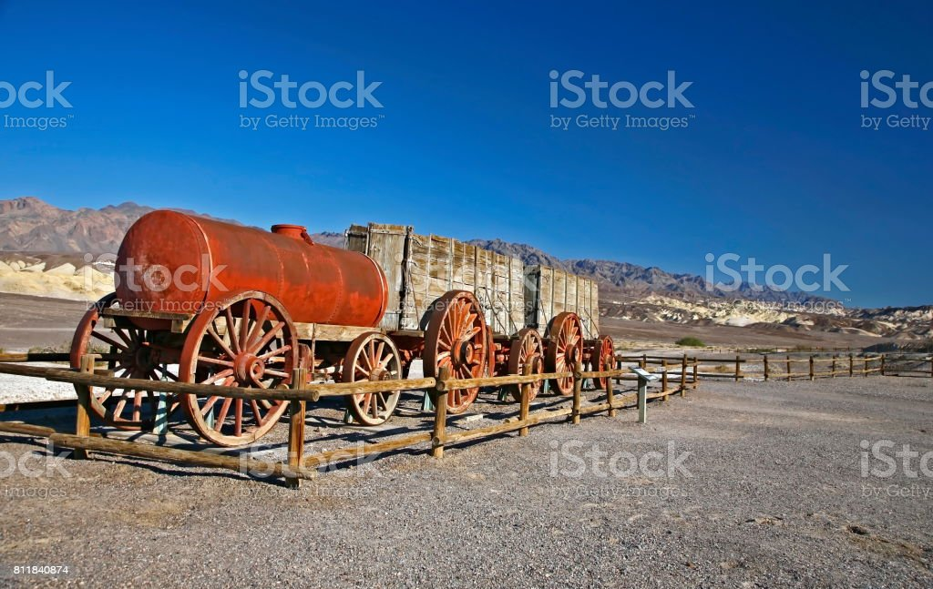 Old horse carriage in Death valley stock photo