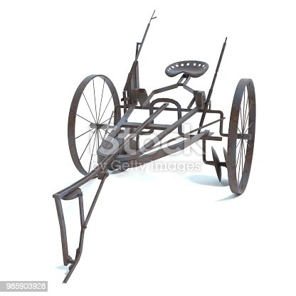 3d illustration of an old horse drawn plow