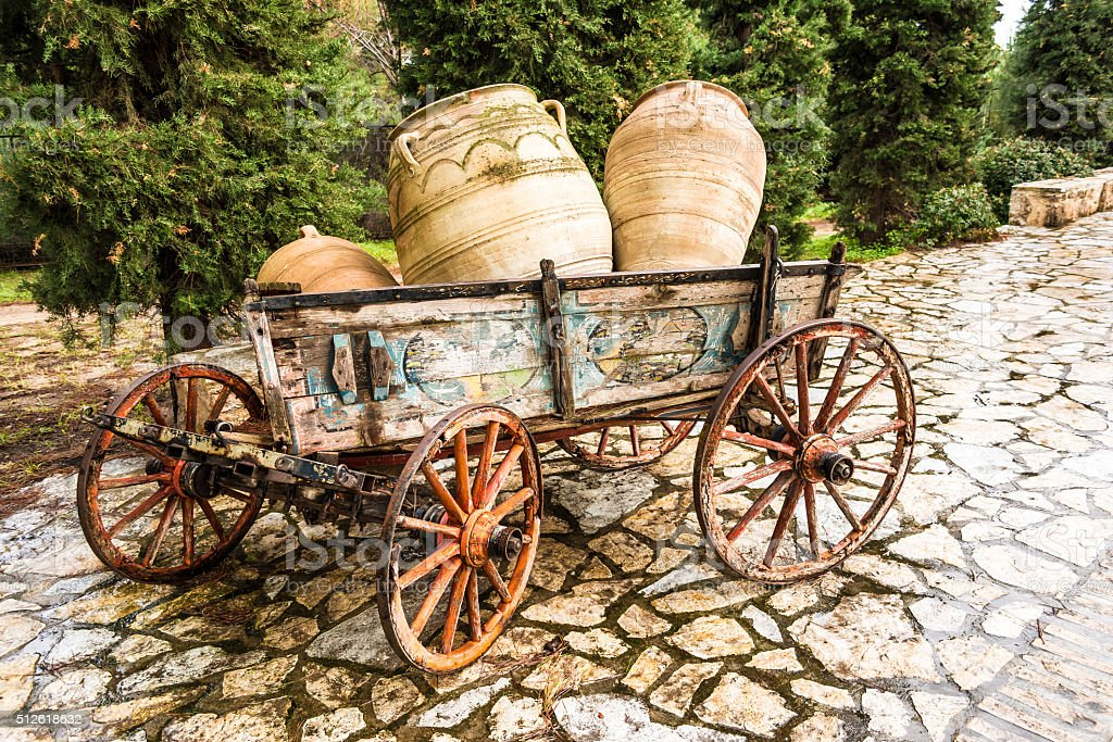 Old horse drawn wooden cart stock photo