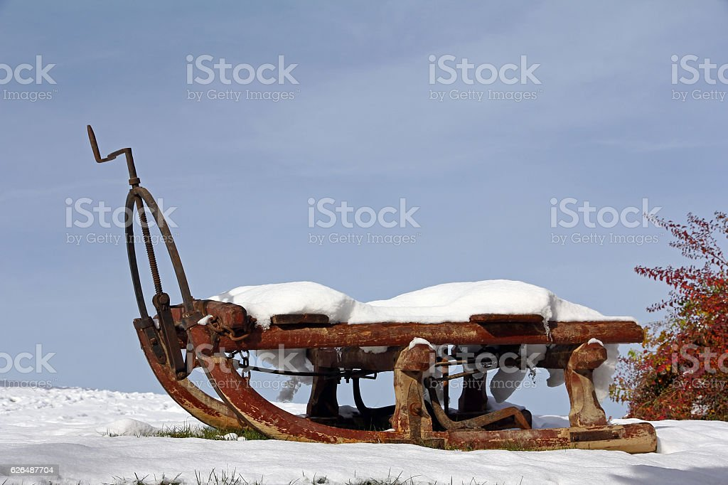 old horse sledge in winter stock photo