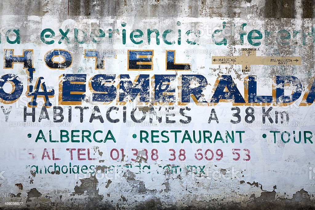 Old Hotel Sign, Mexico royalty-free stock photo