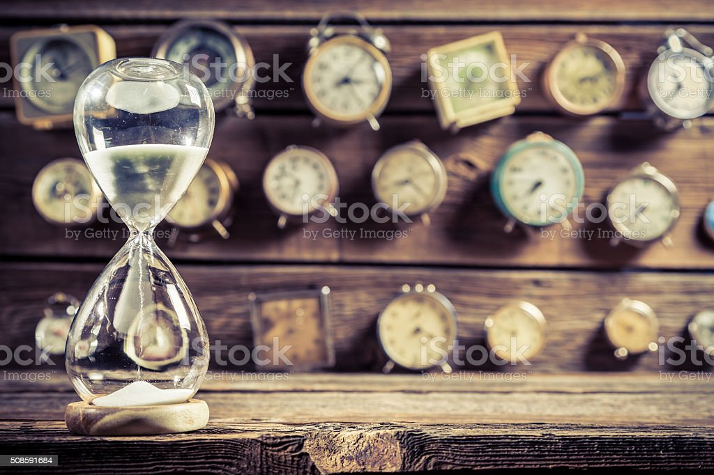 Old hourglass as the old way of timing stock photo