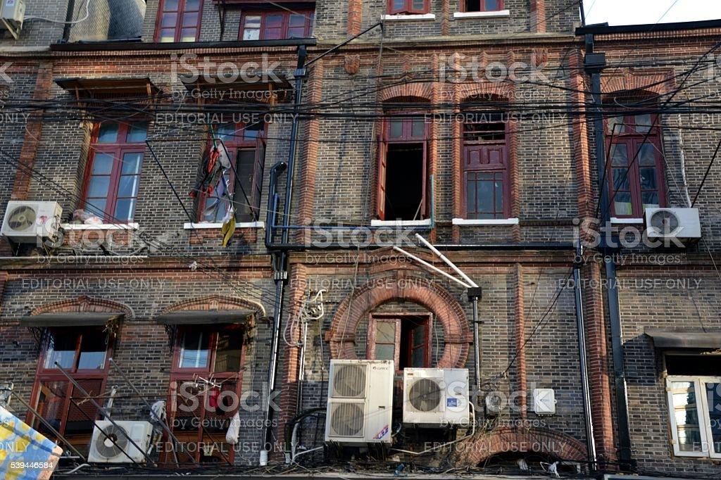 Old house facade in Hongkou district, Shanghai, China stock photo