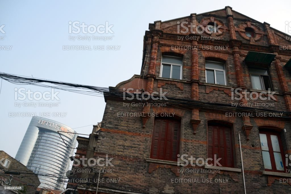 Old house facade in Shanghai, China stock photo
