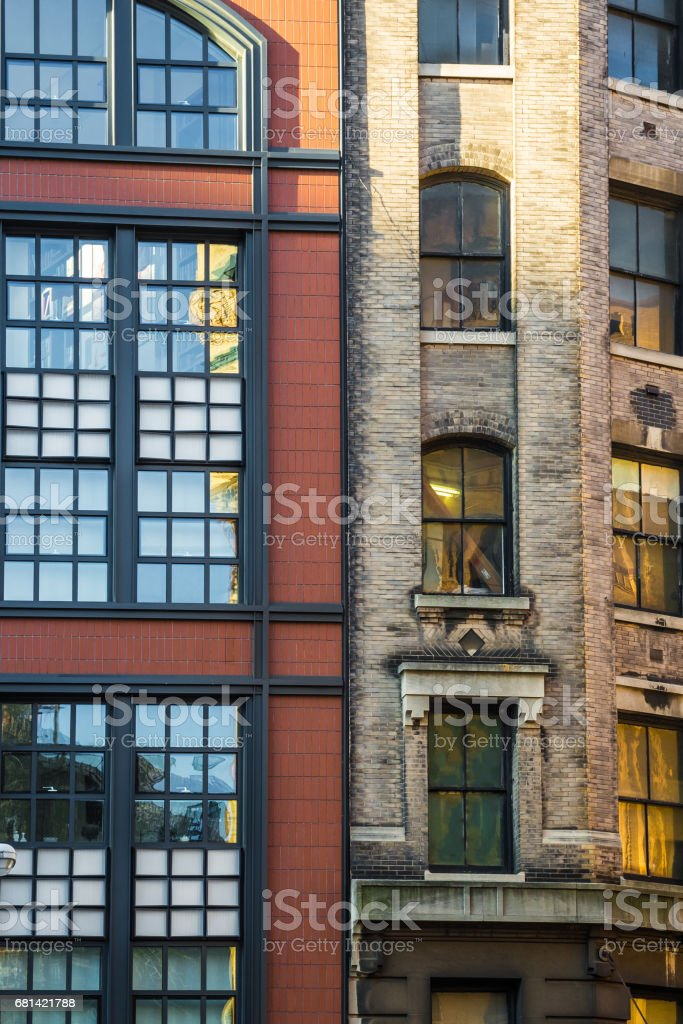Old house facades New York red and brown brick windows royalty-free stock photo