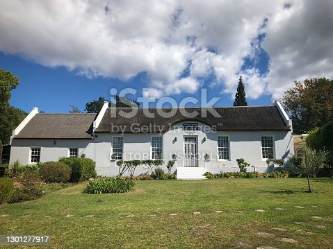 Swellendam, South Africa - October 27, 2019: Old house following the traditional Cape Dutch style build in 1838 in Swellendam, South Africa