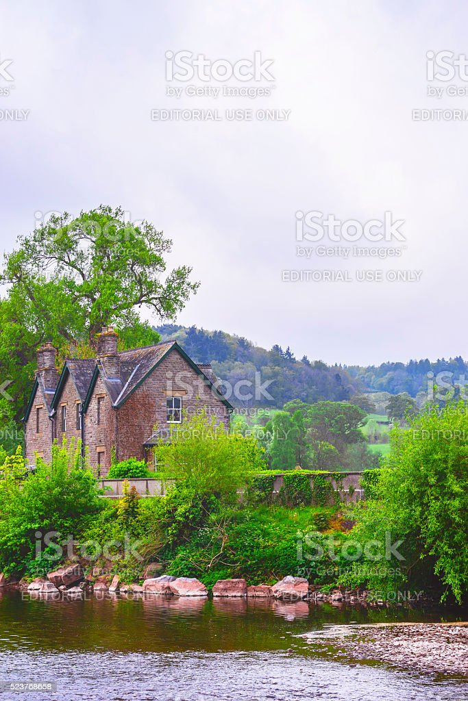 Old house in Brecon Beacons in South Wales stock photo