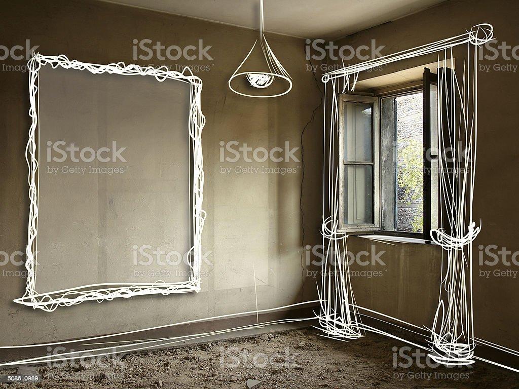 Old house renovation stock photo