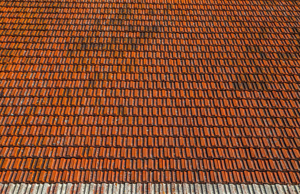Old house tiled roof. Good texture for background stock photo
