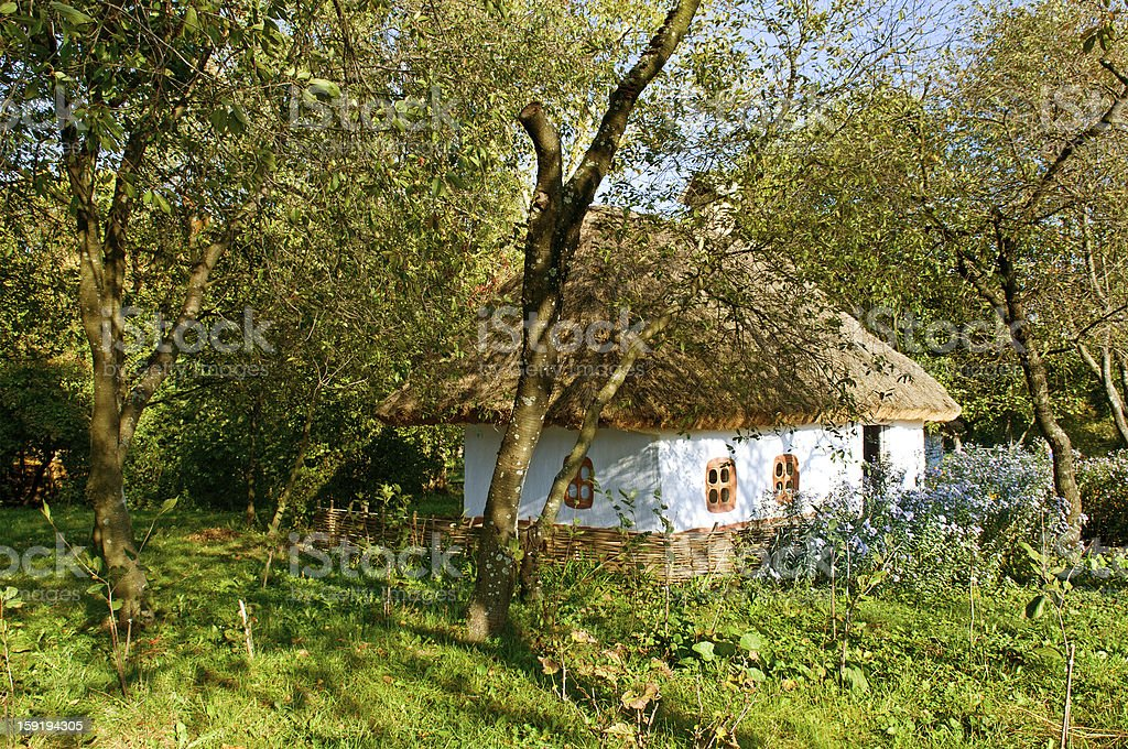 old  house with a thatched roof stock photo