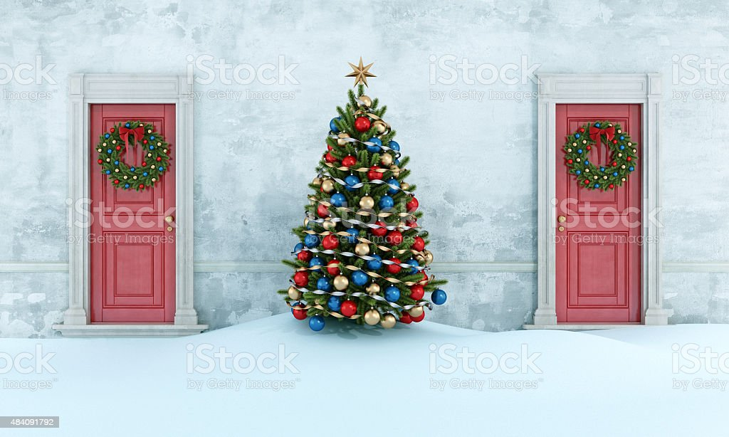 Old house with christmas tree stock photo