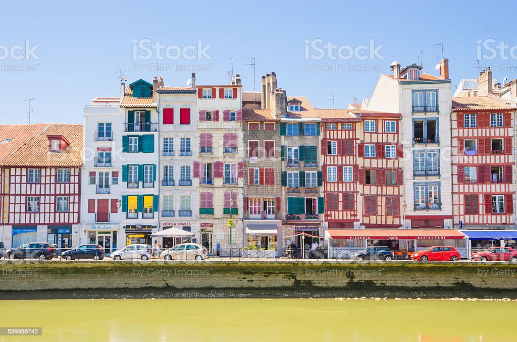 Old Houses along Nive River, Bayonne (France) stock photo