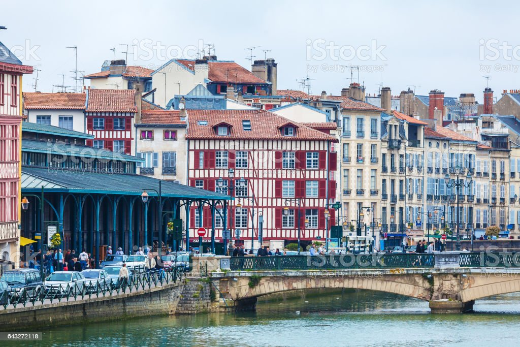 Old Houses along Nive River, Bayonne stock photo