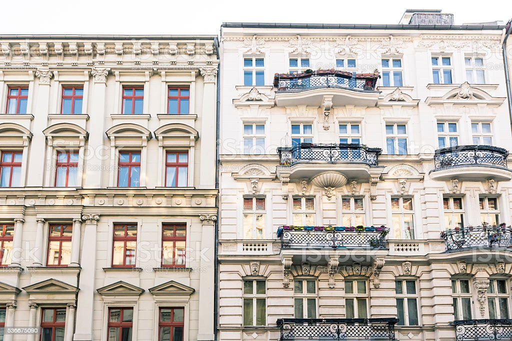 old houses and blue sky in Berlin Kreuzberg stock photo