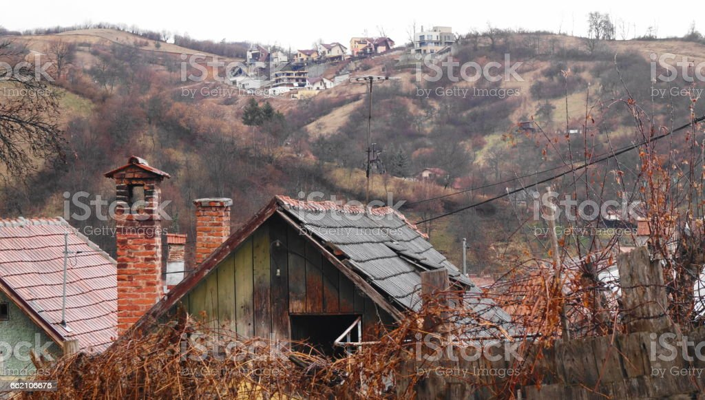 Old houses and new houses, Schei district houses, Brasov, Romania, Transylvania stock photo