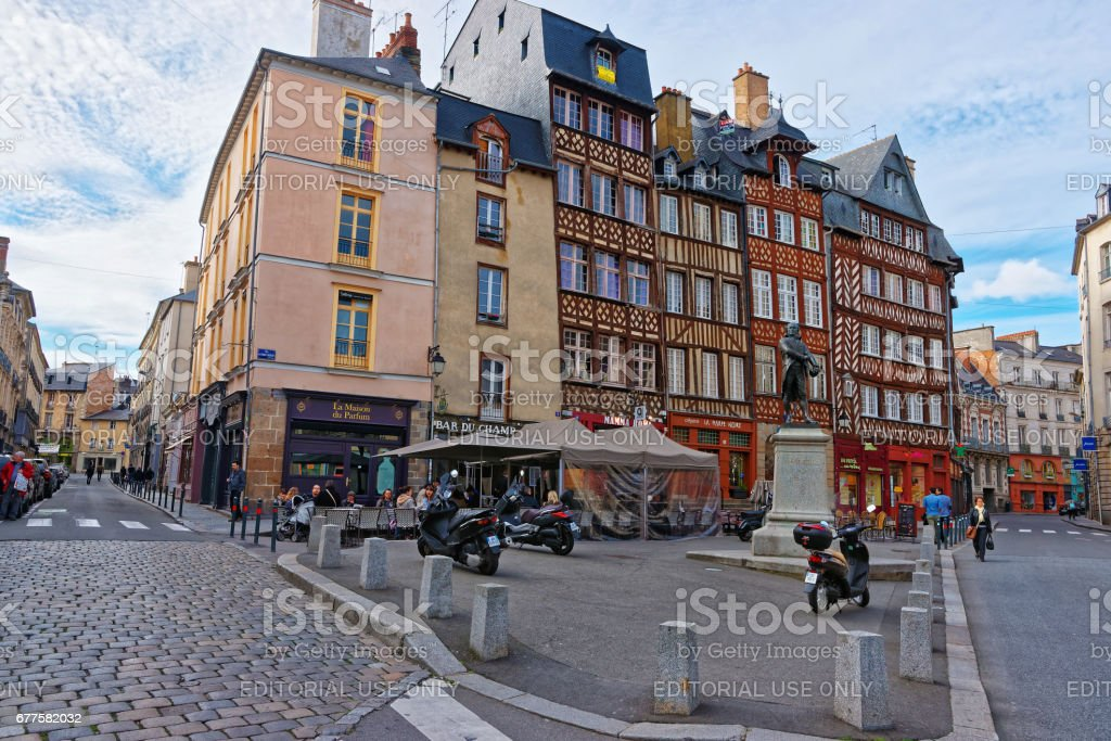 Old houses at Champ Jacquet square in Rennes in France royalty-free stock photo