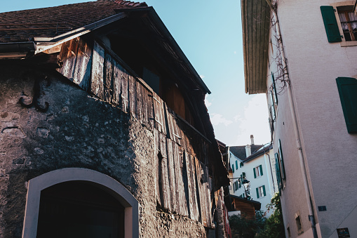Old houses in Chernex Village, Montreux, Switzerland