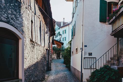 Old houses in Chernex Village, Montreux, Switzerland