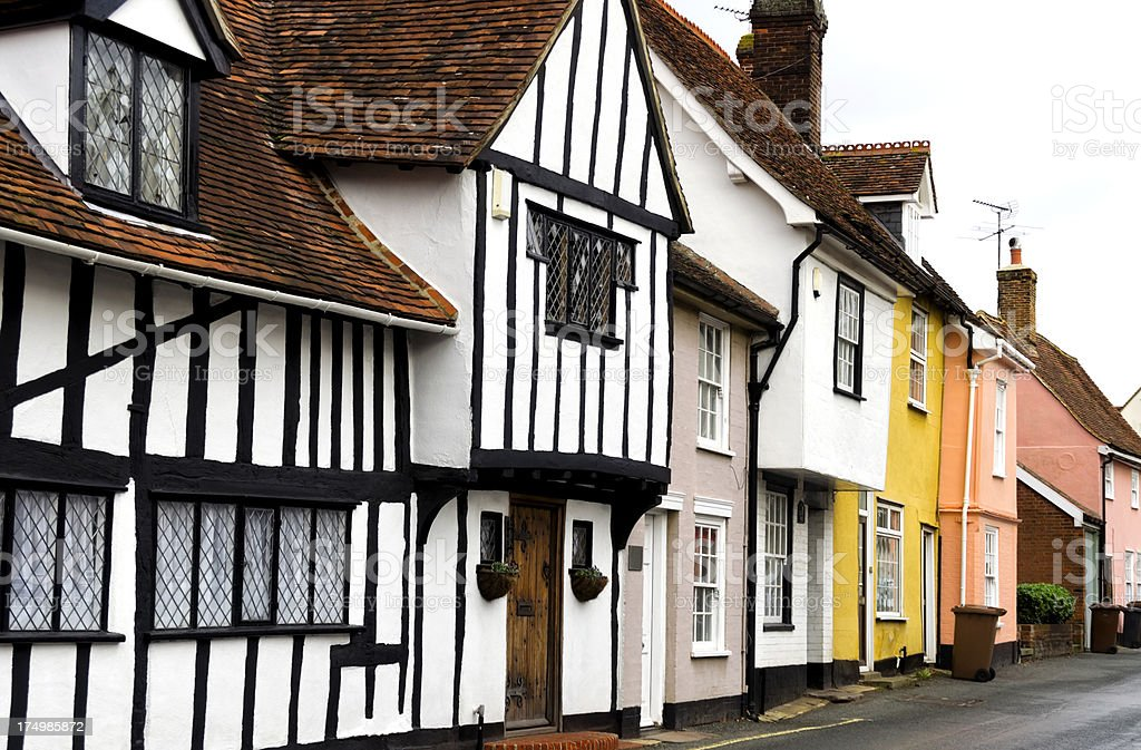 Old houses in Hadleigh, Suffolk stock photo
