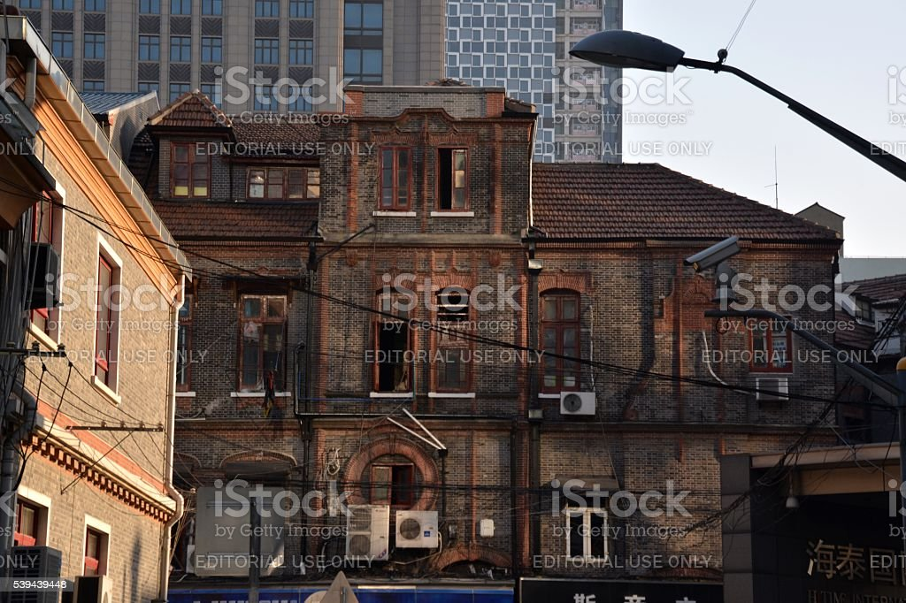 Old houses in Hongkou district, Shanghai, China stock photo