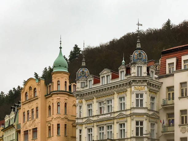 Old houses in Karlovy Vary stock photo