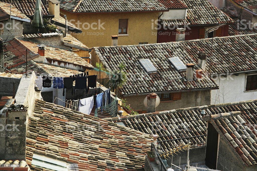 Old houses in Malcesine by lake Garda,  Italy stock photo