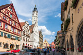 istock Old houses in Rothenburg ob der Tauber, picturesque medieval city in Germany, famous UNESCO world culture heritage site, popular travel destination 1211631963