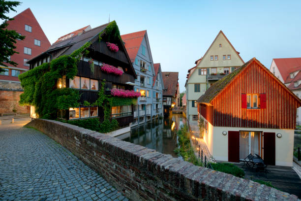 Old houses in the famous fishing district, Ulm, Germany Old houses in the famous Ulm fishing district, Fischerviertel, Baden-Wurttemberg, Germany, HDR imaging ulm stock pictures, royalty-free photos & images