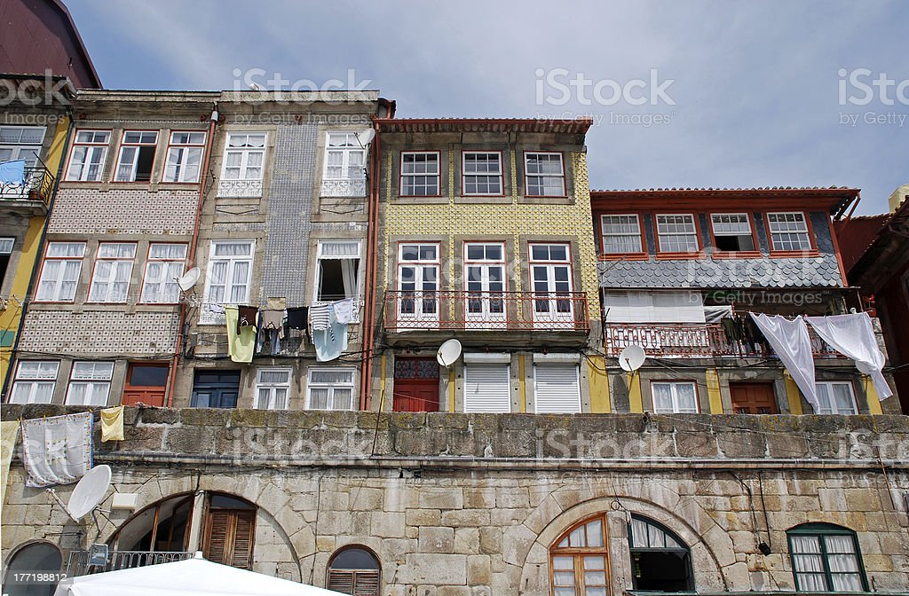Old houses of Ribeira, Porto, Portugal royalty-free stock photo
