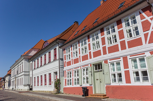 Old houses on a cobblestoned street in Boizenburg