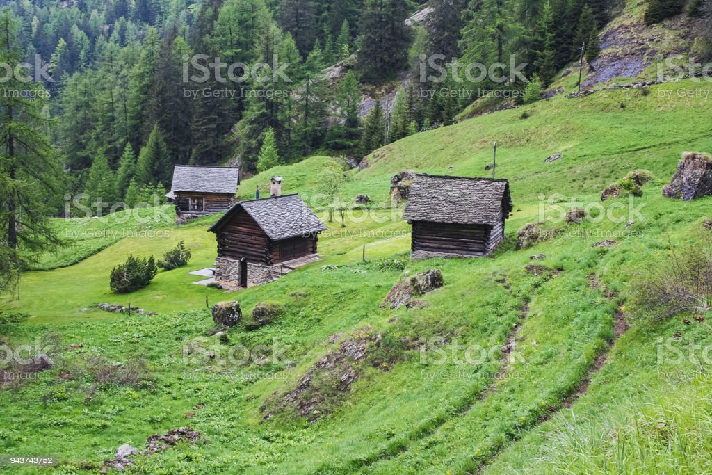 Old houses on maggia valley italian part stock photo