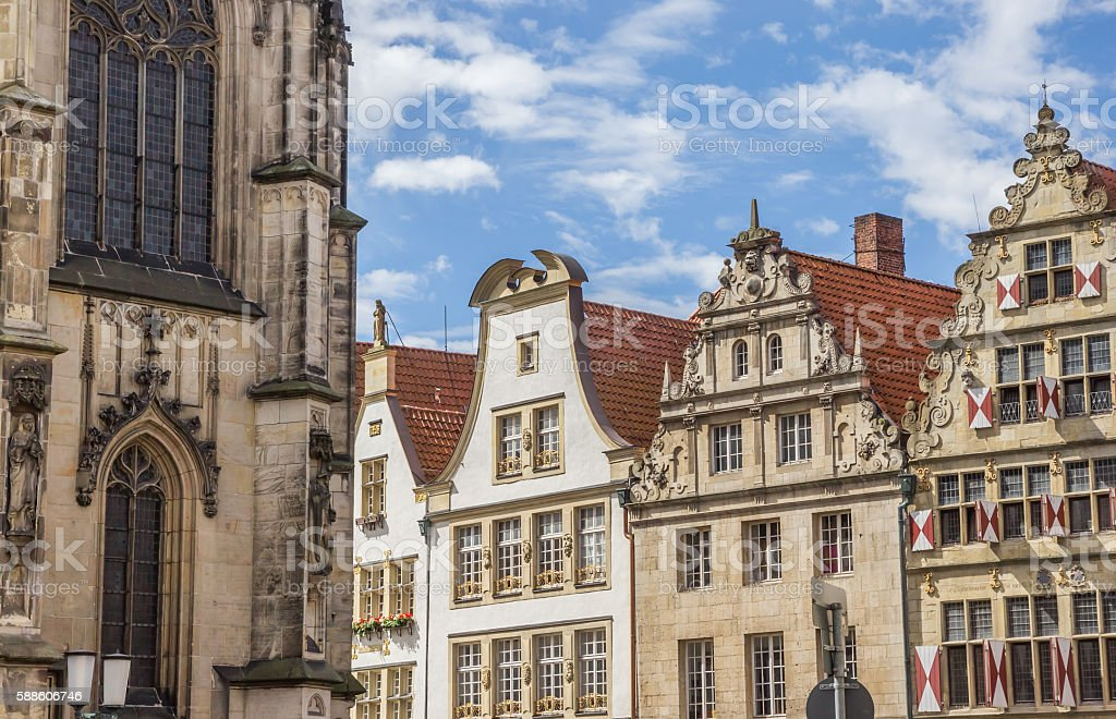 Old houses with blinds in the historical center of Munster stock photo